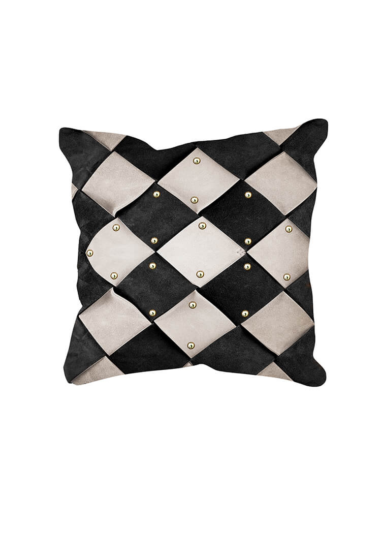 Karin leather cushion for a stylish comfort.